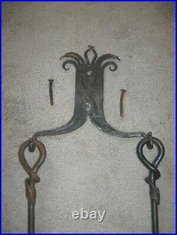 Antique 1908 Wrought Iron 6-Piece FIREPLACE TOOL SET Wall Hung. Beautiful Patina