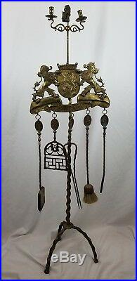 Antique 19th Century Dutch Brass Fireplace Tool Set RS