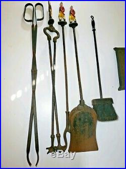 Antique Andirons Fire Place Complete Tool Set With Matching Hessian Soldiers