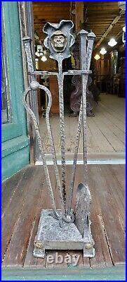 Antique Arts And Crafts Monks Head Fireplace Tool Set