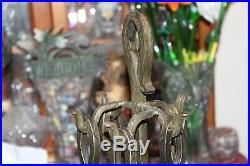Antique Arts & Crafts Fireplace Tool Kit Set Iron Metal 5 Pieces