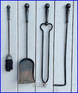 Antique Arts and Crafts Bradley & Hubbard Iron Fireplace Tools Set ORIGINAL 1880