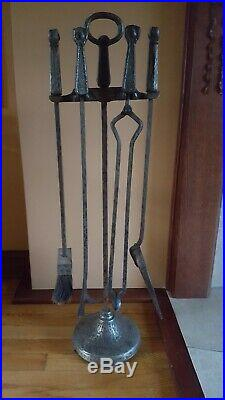 Antique Arts and Crafts Cahill fireplace tools set