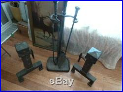 Antique Arts and Crafts Set FIREPLACE ANDIRONS Incl TOOLS Estate Find