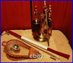 Antique Bellows Ianthe Mini Fireplace Tool Set Brass Church Lighter Nice Set