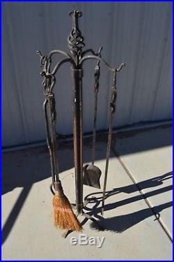 Antique Blacksmith Forged Wrought Iron Fireplace Tool Set 5 Pc Gothic Arts Craft