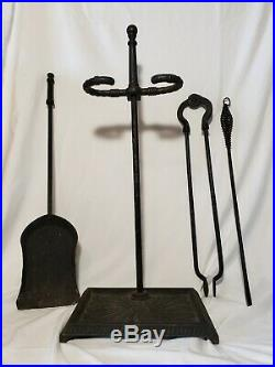 Antique Bradley & Hubbard Cast Iron Fireplace Tools Set