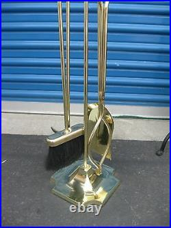 Antique Brass 5 Five Pieces Fireplace Tool Set Beautiful Made