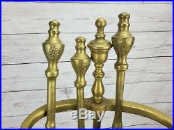 Antique Brass Decorative Fireplace Tools 4 Piece Set