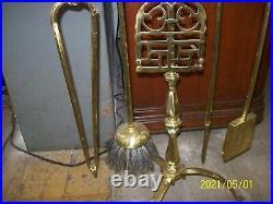 Antique Brass Fireplace Set 5 Piece Tools