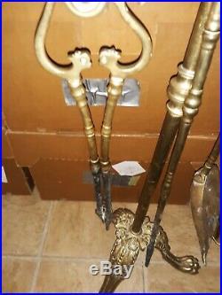 Antique Brass Fireplace Tool Set