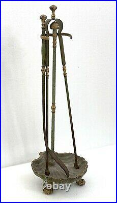Antique Brass Plated Steel French 3 Piece Fireplace Tool Set