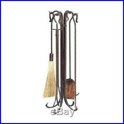 Antique Brushed Copper Finish 5Pcs Fireplace Tool Set with Shephard's Crook New US