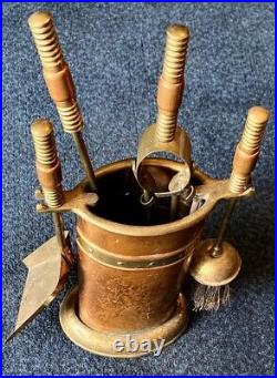 Antique COPPER & Beaded BRASS FIREPLACE or COAL STOVE TOOL SET 5pcs ENGLAND