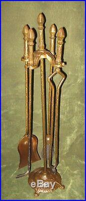 Antique Cahill Arts & Craft Nouveau Iron Fireplace Tool Set 4pc Firetools Stand