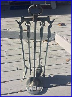 Antique Cahill Hammered Cast Iron Fireplace Tool Set & Stand Vintage U. S. A. Made