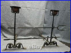 Antique Cast Iron Fireplace Andiron Set With Copper Pots and Tools-Oversized