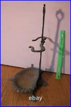 Antique Cast Iron Wood Stove Tool Set Holder fireplace Sea Shell Victorian Style