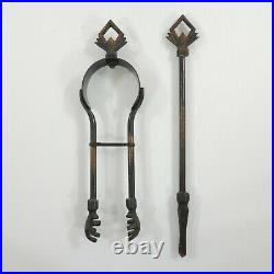 Antique English ART DECO Japanned Flashed Copper 5 Pc Coal Fireplace Tool Set
