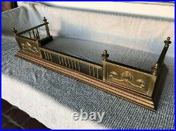 Antique English Arts and Crafts Brass Fireplace Fender & Matching Tool Set