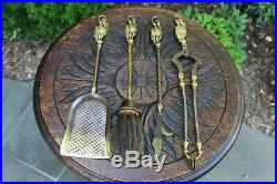 Antique English Brass Fireplace Tool Set Accessories GOTHIC Hearth Set PETITE
