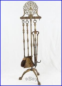 Antique English Brass Fireplace Tool Set Dolphin Tripod Feet Claw Medallion