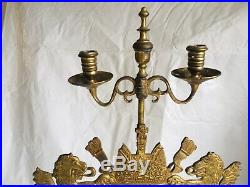 Antique English Fireplace Tool Set And Lion Crested Candelabra. Solid brass