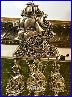 Antique English Ship Brass Fireplace Tool Set Personal Nautical 5 pcs 1900's
