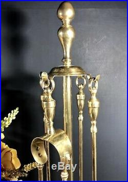 Antique English Solid Brass Fireplace Tool Set Small sized -Very RARE Small 5 pc