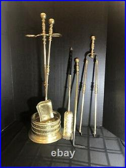 Antique English Solid Brass Fireplace Tool Set Unique Enclosed Brush Victorian