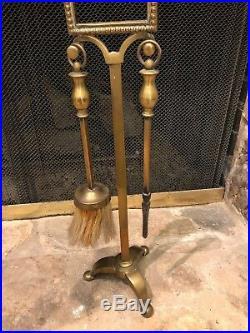 Antique English Victorian Brass Ornate Fireplace Tool Set