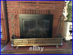 Groovy Antique Fireplace Fender Brass Lions Paw Feet Regency Screen Download Free Architecture Designs Ferenbritishbridgeorg