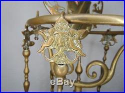 Antique Fireplace Tool Set Heraldic Shield
