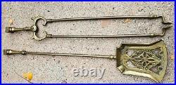 Antique Fireplace Tool Set Hunting Motif