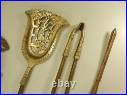 Antique French Brass Fireplace Tool Set Hunting Motif