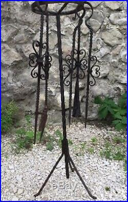 Antique French Fireplace Set Fire Tools Tongs Shovel StandHand Made Wrought Iron