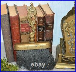 Antique French Fireplace Tools Set Brass Acanthus Scroll Shovels Tongs Poker 6pc