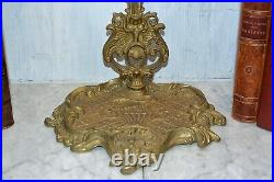 Antique French Fireplace Tools Set Brass Figural Lion Head Palmettes