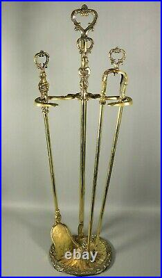 Antique French Ornate Bronze Brass Fireplace Tools Set with Stand Scallop Shell
