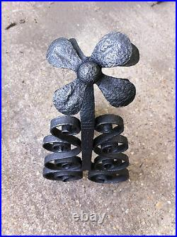 Antique French Wrought Iron Companion Andirons Rests Set Fireplace Tools (BL502)