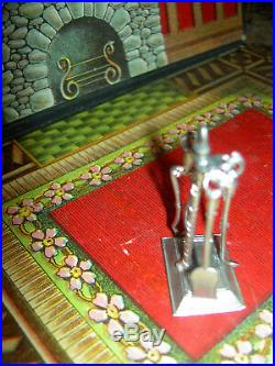 Antique German metal, sgnd. 3-pc dollhouse miniature fireplace tool set and stand