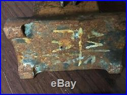 Antique Hand-Forged Iron Fireplace Tool Set -Great Design- Maker/Foundry Marks