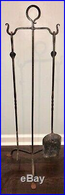 Antique Hand Hammered Wrought Iron Fireplace Hearth Tool Set, Metal Twist, Leaf