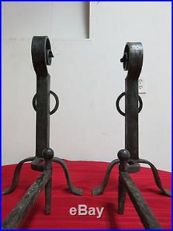 Antique Iron Art Crafts Fireplace Tools Firedogs Andiron Set