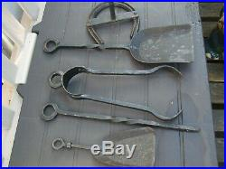 Antique Iron Fireplace Set Fire Tool, Incloding Stand, Tongs, Shovel, Poker