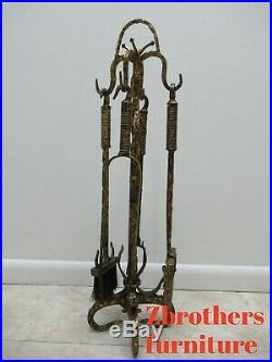 Antique Italian Hand Hammered Wrought Iron Gold Gilt Fireplace Tools Set Regency