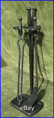 Antique Jewel Arts & Crafts Mission Iron Fireplace Tool Set 3pc Firetools Stand