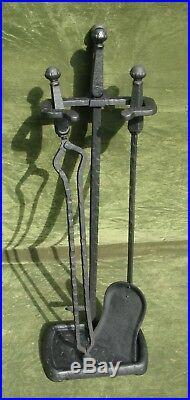 Antique Jewel Arts & Crafts Mission Iron Fireplace Tool Set 3pc Firetools Stand