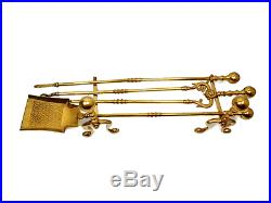 Antique Large Solid Brass Fireplace Tools Set with Stand