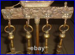 Antique NATUICAL 5 Piece Victory SHIP DOLPHIN FEET BRASS IRON Fireplace TOOL SET